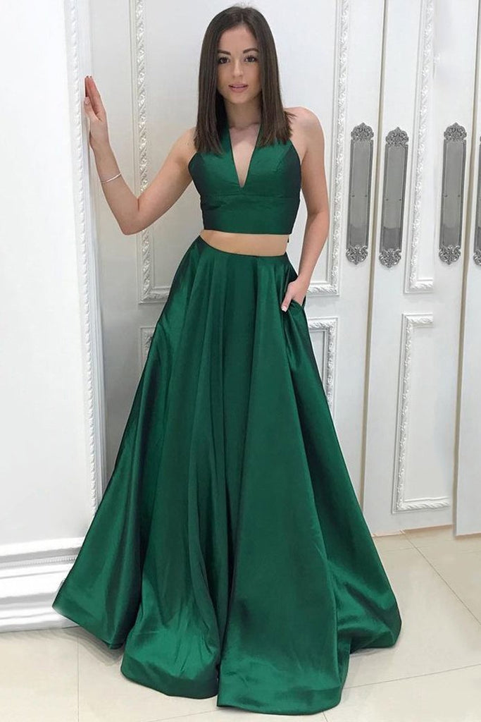 A Line Two Piece Satin V-neck Green Princess Floor-length with Pockets Prom Dresses JS619