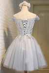 A-Line Off the Shoulder Short Sleeveless Scoop Grey Tulle Lace up Homecoming Dresses JS964