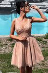 A Line Sweetheart Spaghetti Straps Pink with Lace Appliques Homecoming Dresses JS999
