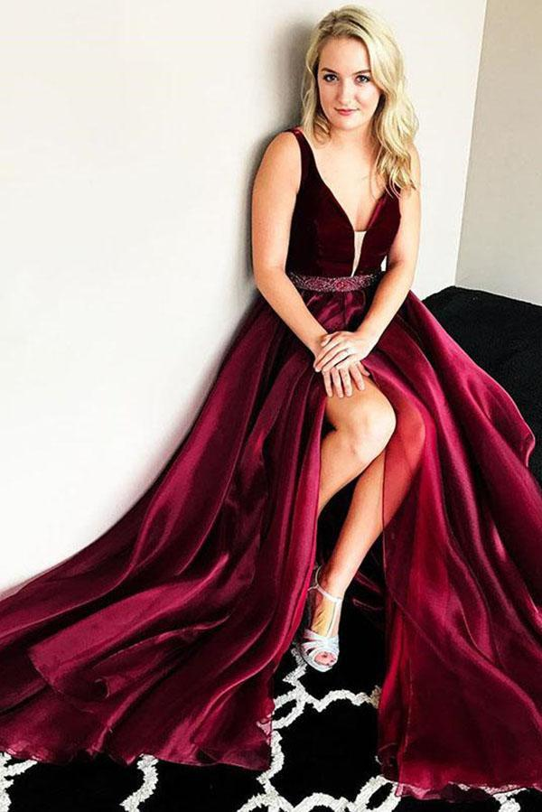 Chic Modest Burgundy V-Neck Cheap Long Sleeveless Slit Beads Prom Dress UK SSM446
