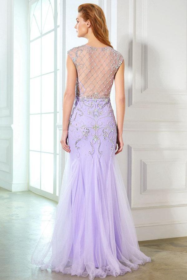 Elegant Mermaid Lavender Scoop Cap Sleeve Beads Tulle Yarn Floor-Length Prom Dresses JS220