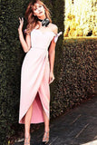 A-Line Sheath Pink Off-the-shoulder Silk-like Satin Tea-length Bow Prom Dresses UK JS487