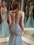 Backless Mermaid Beaded Long Tulle V-Neck Sleeveless Zipper-up Prom Dresses JS612