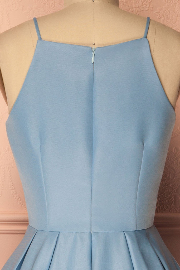 A Line Blue Halter Sleeveless Short Satin Knee Length Homecoming Dress SSM601