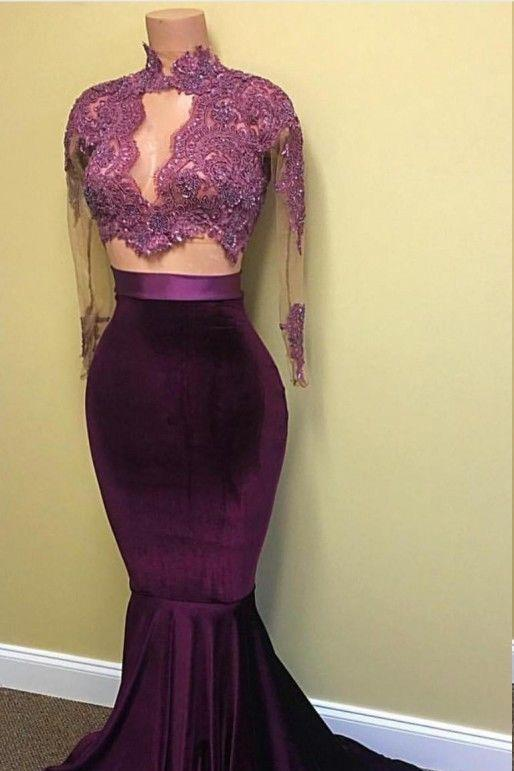 Elegant Long Sleeves Two Piece Mermaid High Neck Floor-Length Prom Dresses JS780