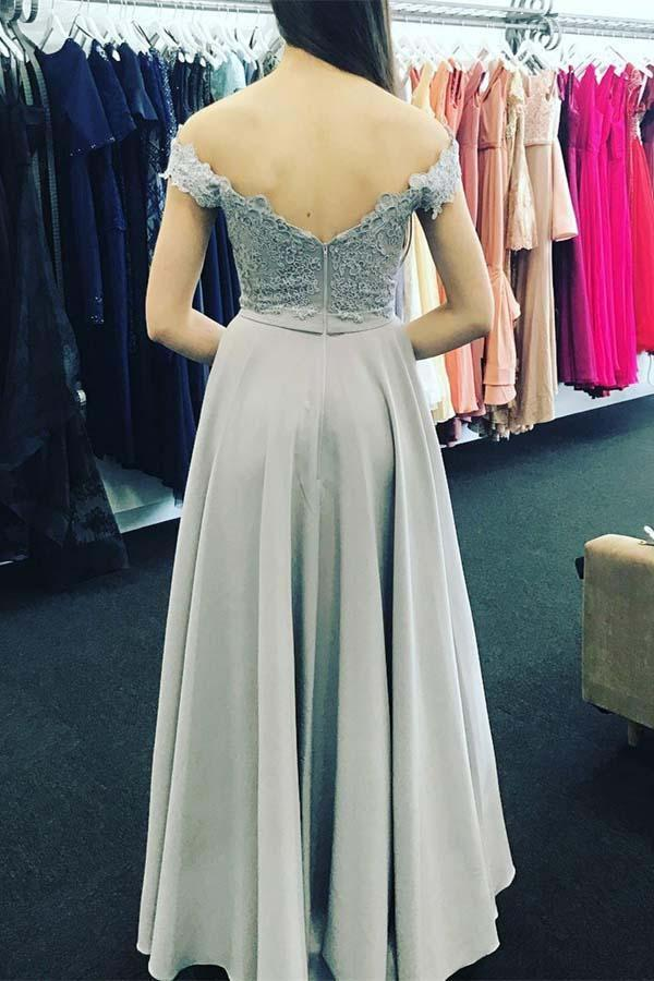 A-Line Off-the-Shoulder Open Back Sweetheart Grey Chiffon Prom Dresses with Appliques SSM229