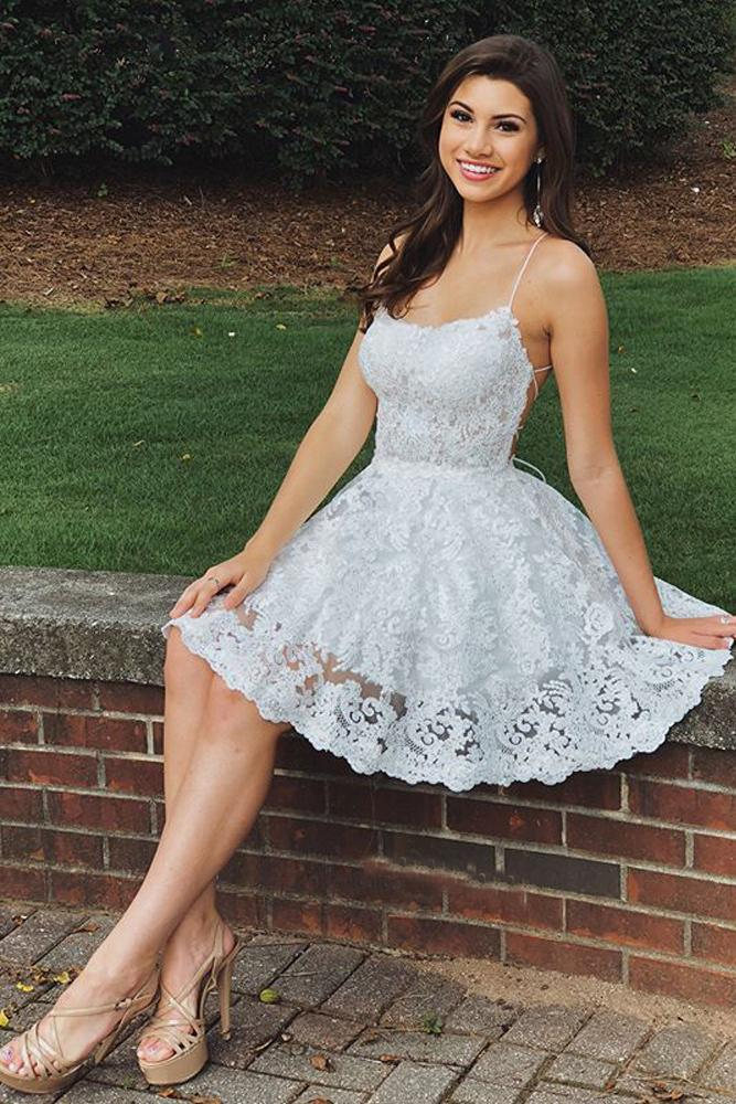 A Line Sweetheart Spaghetti Straps Backless White Lace Appliques Short Homecoming Dresses JS981