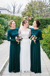 2021 Green Long Sleeve Round Neck Modest Floor-Length Satin A-Line Bridesmaid Dress JS524