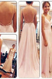 Backless Spaghetti Straps V-Neck Pink Open Back Chiffon Evening Gowns JS508