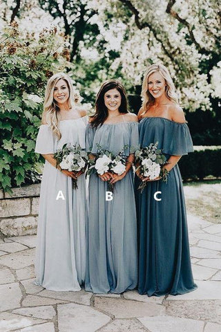A Line Long Chiffon Off the Shoulder Slate Gray Mismatched Bridesmaid Dresses JS287
