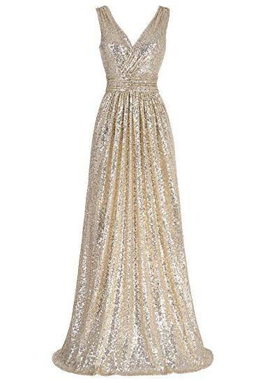 A Line Sequin V Neck V Back Sleeveless Gold Ruffles Maxi Evening Prom Dresses JS336