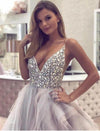 A Line Spaghetti Straps V Neck Silver Tulle Long Wedding Dresses with Rhinestones JS281