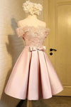 A Line Off the Shoulder Short Prom Dress Appliques Bowknot Lace Homecoming Dress JS854