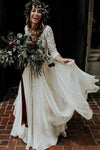 3/4 Sleeve Lace Ivory Chiffon Wedding Dresses Cheap Two Piece Beach Bridal Dresses JS813