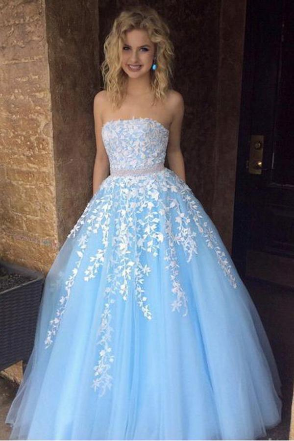 A Line Sky Blue Strapless Lace Appliques Tulle Beads Pockets Floor Length Prom Dresses UK JS770