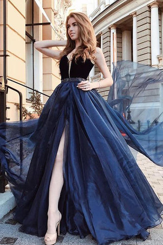 Gorgeous A Line Open Back Sleeveless With Split Side Dark Blue V Neck Prom Dresses JS74