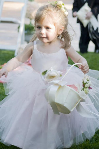 Ball Gown Scoop Neck Tulle Elastic Woven Satin Ankle-length Flower(s) Flower Girl Dresses JS733