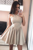 Cute A Line Halter Backless Satin Above Knee Short Prom Dresses Homecoming Dresses JS946