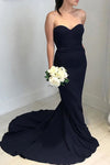 Affordable Strapless Black Sweetheart Elegant Mermaid Long Open Back Bridesmaid Dress JS595