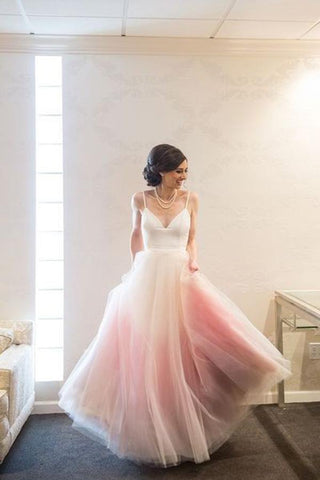Modest A Line Spaghetti Straps V Neck Ombre Pink Tulle Prom Dresses JS798
