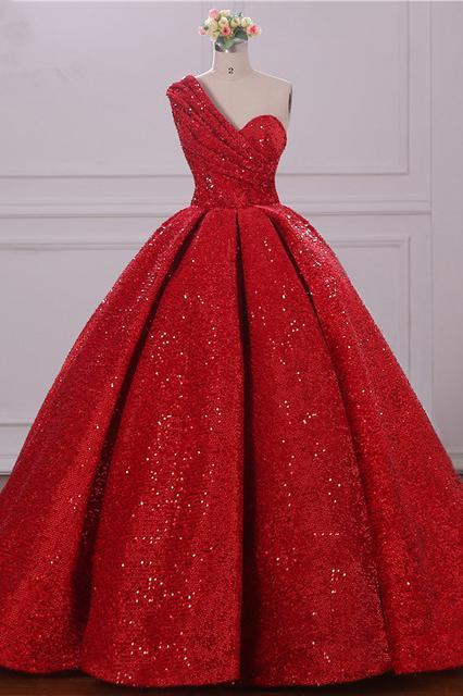 Ball Gown One Shoulder Sequins Red Sweetheart Prom Dresses Quinceanera Dresses SSM39