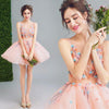 A Line Orange Cheap Ball Gown Spaghetti Straps Above Knee Flowers Homecoming Dresses JS959