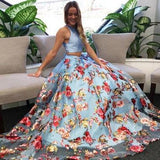 A Line Floral Two Piece Round Neck Sweep Train Blue Organza Prom Dresses JS182