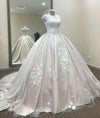 Ball Gown A Line Lace Tulle Appliques Cap Sleeves Scoop Prom Dresses Quinceanera Dress JS812