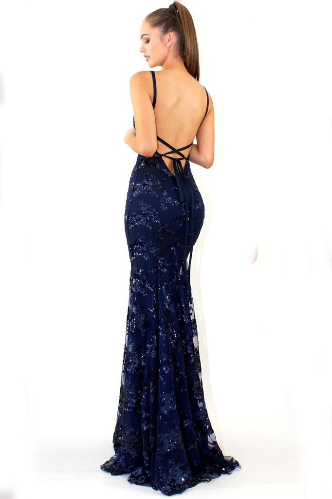 Mermaid Deep V Neck Royal Blue Lace Appliques Backless Spaghetti Straps Prom Dresses JS893