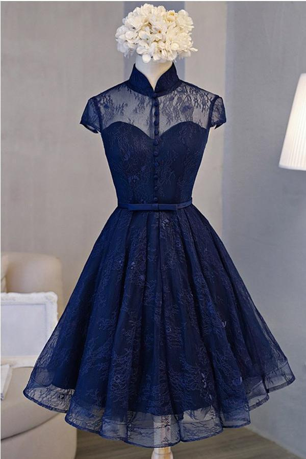 A Line Navy Blue Short High Neck Lace Open Back Cap Sleeve Mini Lace-up Homecoming Dresses JS588