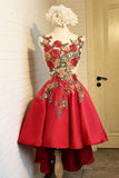 A Line Red Appliques Lace High Low Lace up Satin Scoop Homecoming Dresses JS887