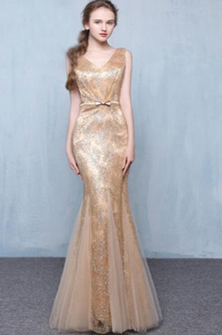 Golden Sequins V-Neck Mermaid Elegant Tulle Sleeveless Prom Dresses with Sash Bowknot JS248