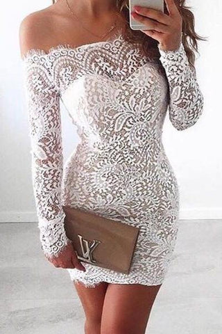 White Lace Bodice Off shoulder Long Sleeves Mermaid Homecoming Dress