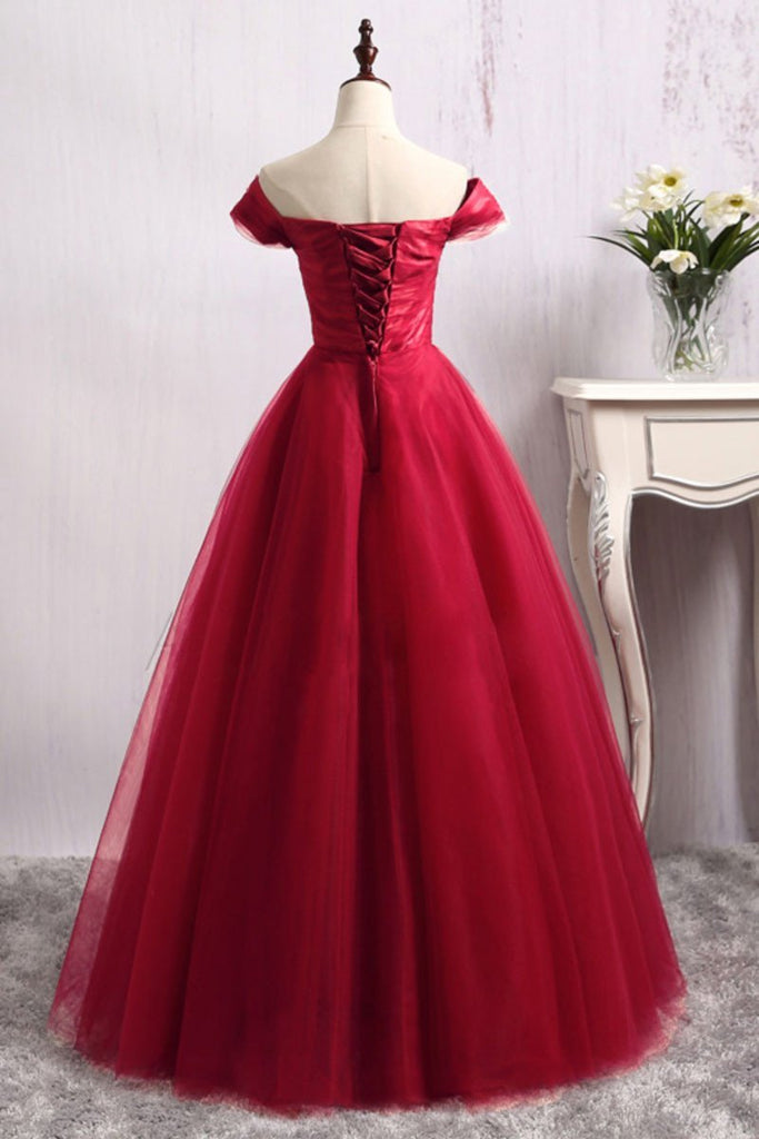 A Line Long Red Tulle Off the Shoulder Lace up Bowknot Floor Length Prom Dresses JS140