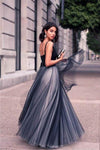 A-Line V-Neck Sleeveless Tulle Backless Navy Blue Floor Length Evening Prom Dresses UK JS460
