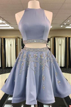 Cute Two Piece Beading Sexy Short Cheap Open Back Halter Satin Homecoming Dress