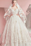 Sweetheart Ball Gown Sleeveless White Tulle Appliques Sweep Train Wedding Dresses JS316
