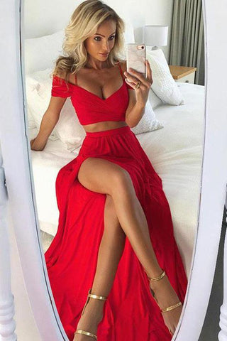 Sexy A Line Off the Shoulder Red Two Pieces V Neck Split Front Chiffon Prom Dresses JS741