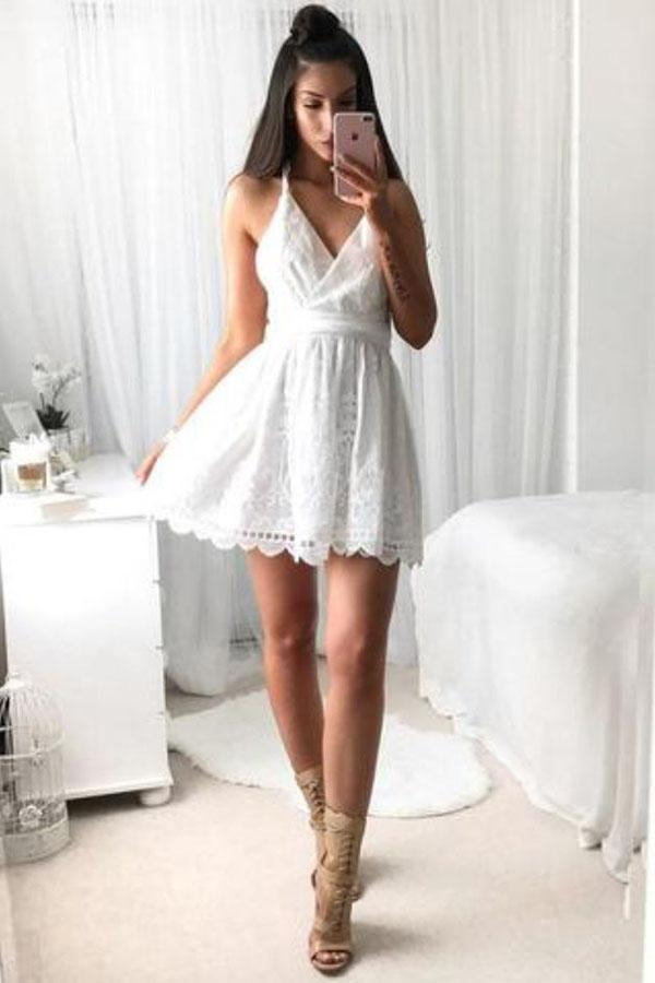 A Line V Neck Spaghetti Strap Short Lace White With Criss-Cross Mini Homecoming Dress JS590