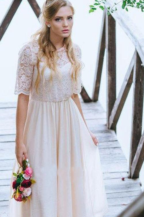 A Line Half Sleeve Lace Chiffon Ankle Length Prom Dress with Jewel Neckline JS274