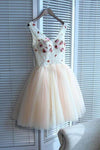 A line V Neck Seam Beads Appliques Tulle Lace up Pink Short Homecoming Dresses JS01