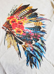 Oklahoma Headdress V-neck on Light Silk Grey