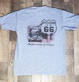 Dust Bowl Route 66 on Blue Denim