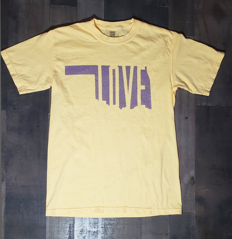 Love Oklahoma soft yellow with purple design