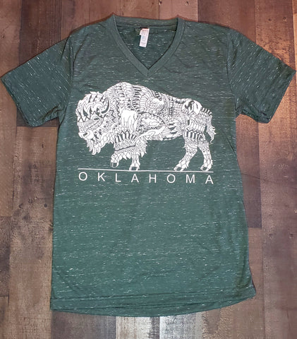 Oklahoma Green Buffalo V-neck