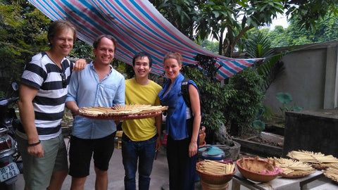 Sipster team at bamboo straw workshop in Vietnam