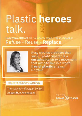 Sipster at Plastic Heroes Event @ Impact Hub in Amsterdam