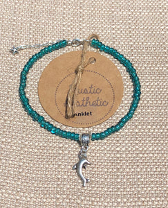 Teal Japanese Seed Bead Dolphin Anklet