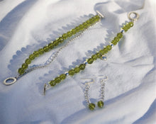 Pear Green Czech Glass & Silver Ladybug Bracelet