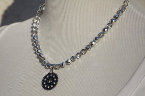 Silver Czech Glass & Gunmetal Gear Necklace